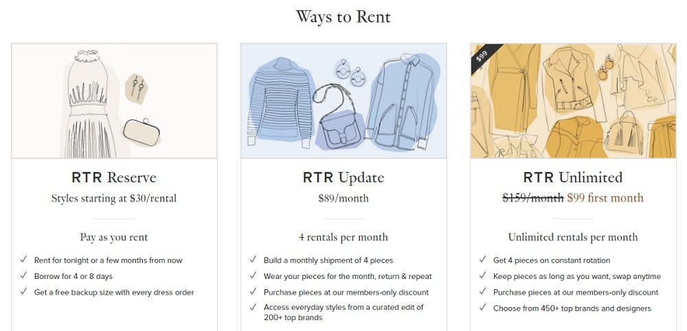 Вот такие тарифные планы сейчас на сайте Rent the Runway